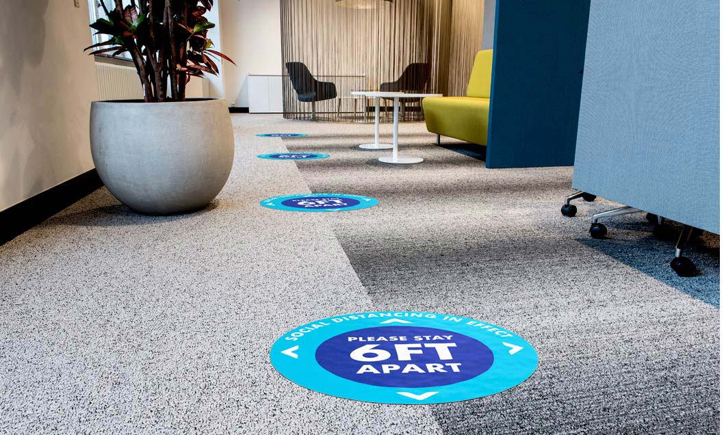 social distancing floor stickers in dubai